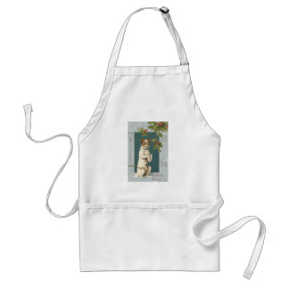 Dog Begging Holly Christmas Greetings Standard Apron