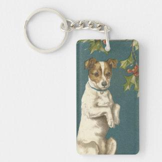 Dog Begging Holly Christmas Greetings Double-Sided Rectangular Acrylic Key Ring
