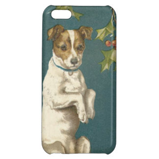 Dog Begging Holly Christmas Greetings iPhone 5C Cover