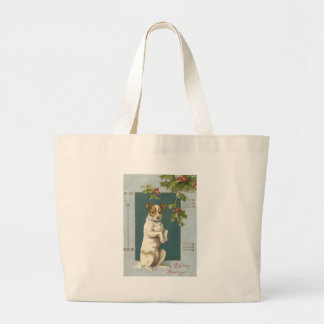 Dog Begging Holly Christmas Greetings Jumbo Tote Bag