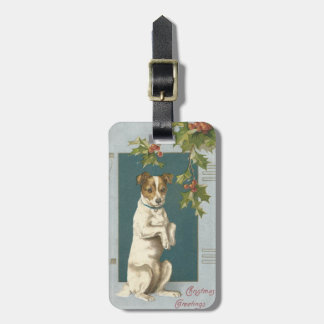 Dog Begging Holly Christmas Greetings Luggage Tag