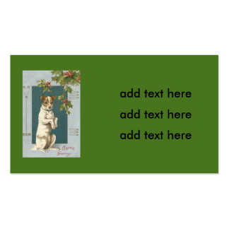 Dog Begging Holly Christmas Greetings Pack Of Standard Business Cards
