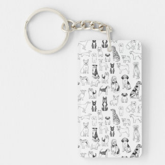 Dog Black White Hand Illustration / Andrea Lauren Double-Sided Rectangular Acrylic Key Ring