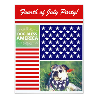 Dog Bless America Patriotic 11 Cm X 14 Cm Invitation Card