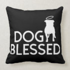 """""""Dog Blessed"""" Pit Bull Angel Throw Pillow"""
