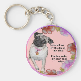 Dog Blessing Basic Round Button Key Ring