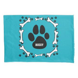 Dog Bone and Dog Paws Pillowcase