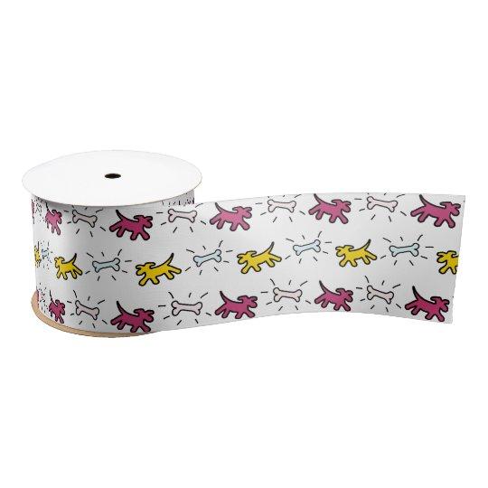 Dog Bone Graffiti Style Choose Colour L Ribbon 2 Satin Ribbon