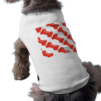Dog bone red PERSONALIZE template Sleeveless Dog Shirt