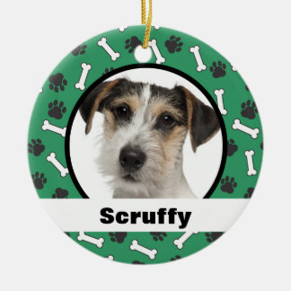 Dog Bones Paw Prints Green Ornament