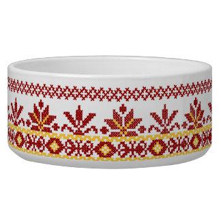 Dog Bowl Ukrainian Cross Stitch Red