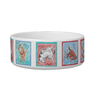 Dog bowl with cute dog cartoon characters