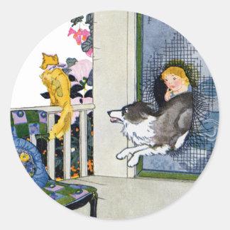 Dog Busts Screen Door to Get Cat Classic Round Sticker