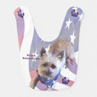 Dog Cairn Terrier America Flag Pride Baby Bib