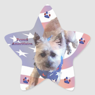 Dog Cairn Terrier America Flag Pride Star Sticker