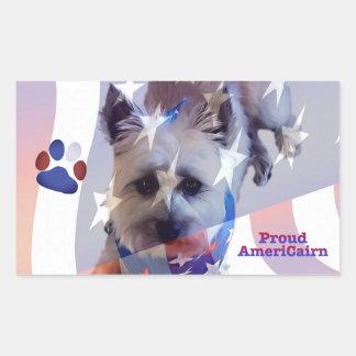 Dog Cairn Terrier America Flag Rectangle Sticker