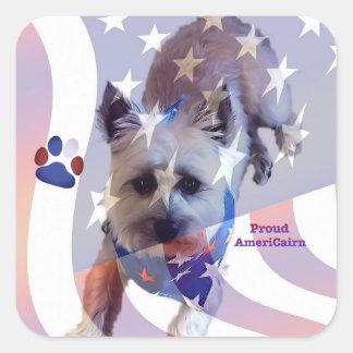 Dog Cairn Terrier America Flag Square Sticker