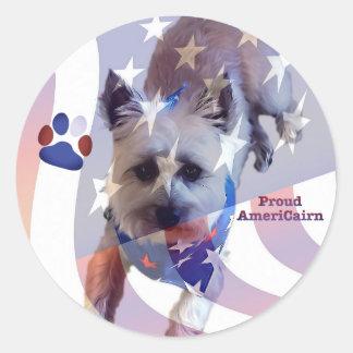Dog Cairn Terrier America Pride Flag Round Sticker