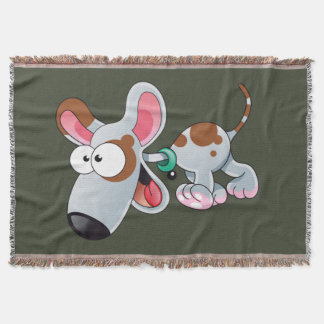 dog cartoon happy throw blanket