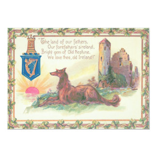 Dog Castle Harp of Erin Shamrocks Card