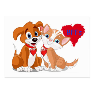 Dog Cat BFFs Valentine Cards to Hand Out for Kids Pack Of Chubby Business Cards