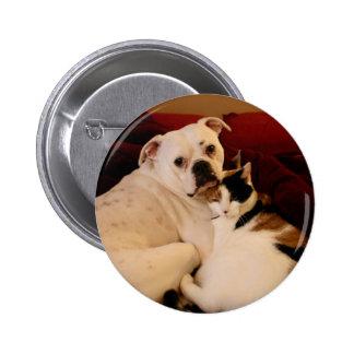 Dog Cat Cuddle 6 Cm Round Badge