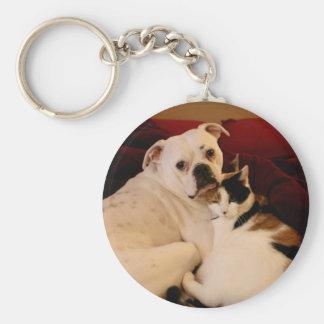 Dog Cat Cuddle Basic Round Button Key Ring