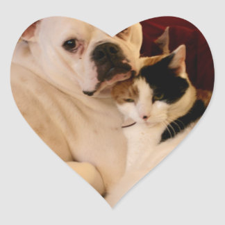 Dog Cat Cuddle Heart Sticker