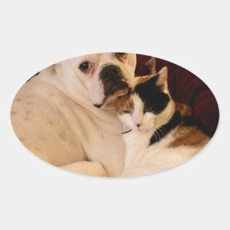 Dog Cat Cuddle Oval Sticker