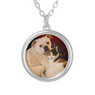 Dog Cat Cuddle Silver Plated Necklace