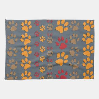 Dog & Cat Paw prints Design ~ editable background Tea Towel