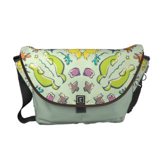 Dog cat sparrow Colourful cute symmetry Messenger Bags