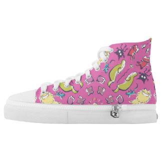 Dog cat sparrow Pink cute symmetry Printed Shoes