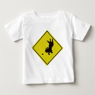 Dog Chasing Ball Street Sign Baby T-Shirt