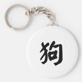 Dog Chinese Zodiac Sign Basic Round Button Key Ring