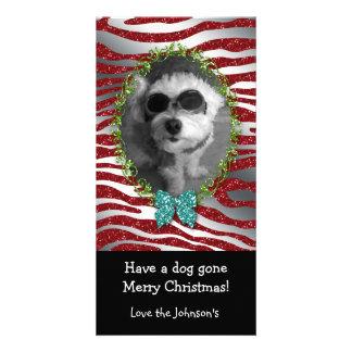 Dog Christmas Cute Photo Frame Zebra Glitter Personalised Photo Card