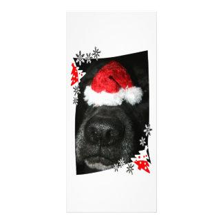 Dog Christmas hat on nose, black lab mix canine 10 Cm X 23 Cm Rack Card