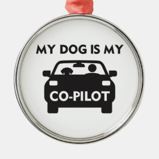 Dog Co-Pilot Metal Ornament