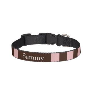 Dog collar pink-brown strip