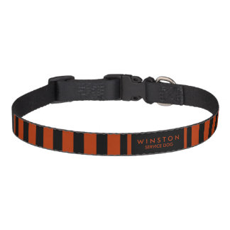 Dog Collar Red & Black Stripes Name & Service Dog