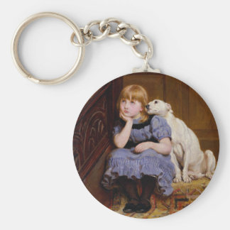 Dog Comforting Girl - Sympathy by R.Briton Basic Round Button Key Ring