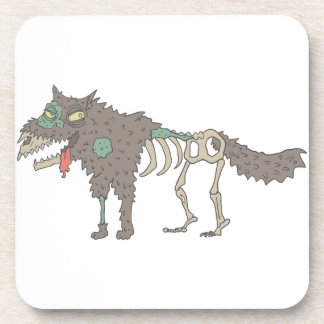 Dog Creepy Zombie With Rotting Flesh Outlined Hand Coaster