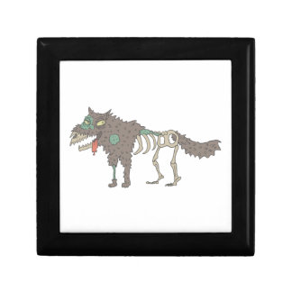 Dog Creepy Zombie With Rotting Flesh Outlined Hand Gift Box