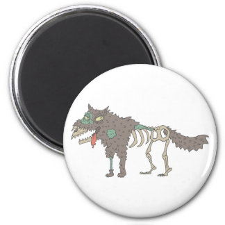 Dog Creepy Zombie With Rotting Flesh Outlined Hand Magnet