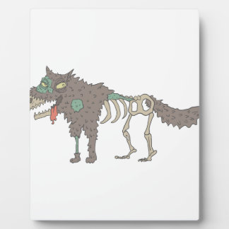 Dog Creepy Zombie With Rotting Flesh Outlined Hand Plaque