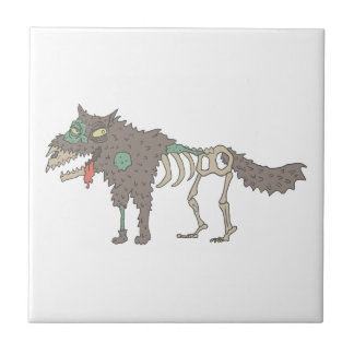 Dog Creepy Zombie With Rotting Flesh Outlined Hand Tile