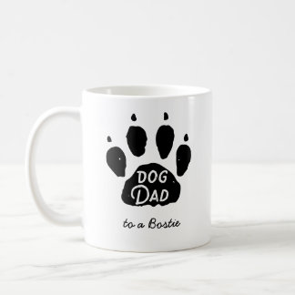 Dog Dad Paw Print Personalized Name and Breed Coffee Mug