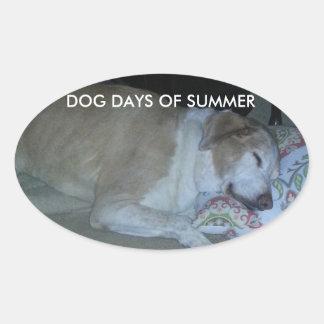 Dog days of summer white and beige lab grey hound oval sticker