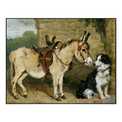 Dog & Donkey Animal Friends - Large Postage Stamp Posters