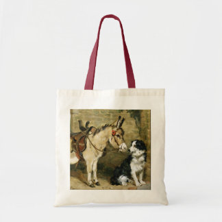 Dog & Donkey Animal Friends - Vintage Art by Emms Budget Tote Bag